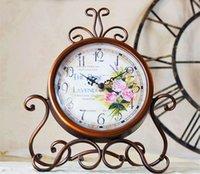 Wholesale Antique Led Watch - Metal desktop mute 12888 movement vintage home decoration watch electronic bedroom clock frozen clock mesa de som