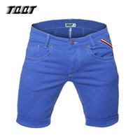 Wholesale Men Low Waist Jeans - Wholesale-TQQT man ruched jeans midweight slim short jeans straight low waist calf length short solid colored knee short jeans 5P0572