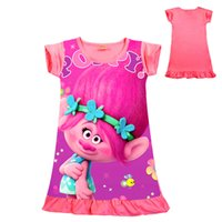 Wholesale little girl clothes for summer for sale - Group buy cute baby girl dress lovely cartoon trolls poppy dress for yrs girls little kids children dress vestido Summer clothes hot