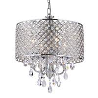 candelabros de cristal gota al por mayor-Candelabros modernos con luz colgante de 4 luces con gotas de cristal en redondo, lámpara de techo para comedor, dormitorio, sala de estar