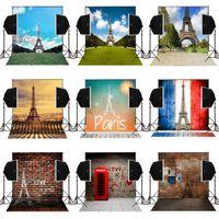 Wholesale Brick Wall Photography Backdrop - 5X7FT eiffel tower scenic bricks wall for wedding photo background camera fotografica digital cloth studio props vinyl photography backdrops