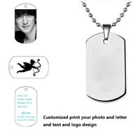 Wholesale Steel Lettering - customized print photo you want text diy pendant high quality stainless steel men necklaces pendants dog Tag custom lettering pendants