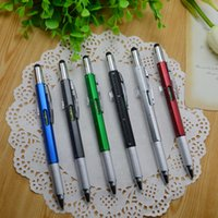 Wholesale Multi Color Ballpoint Pens - 2017 New Ballpoint Pen with Screwdriver Ruler Spirit Level with a top and scale multifunction 6 in 1 metal pen multi color