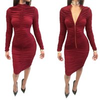Wholesale Wholesale Sheath Dresses For Women - 2017 Bodycon Dresses For Womens Fashion Zipper Crew Long Sleeves Side Slit Casual Dresses Free Shipping Wholesale 2526