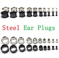 Wholesale Tunnels Plugs For Ears - Sliver and Black Stainless Steel Ear Plugs Gauge Body Jewelry Pierceing Surgical Steel Ear plugs tunnels 2mm To 12 mm for man woman ak104
