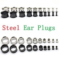 Sliver y Negro Acero Inoxidable Tapones para los Oídos Gauge Body Jewelry Pierceing Surgical Steel Tapones para los oídos túneles 2mm A 12 mm para hombre mujer ak104