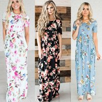 Wholesale Ladies Full Casual Length Dresses - Womens BOHO Floral Long Evening Party Cocktail Ladies Summer Beach Maxi Dress Crew Neck Full Length Sundress