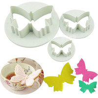 Wholesale Set Butterfly Mold - 3 Pcs Set Plastic Hollow Butterfly Shape Biscuit Fondant Mold Cookie Paste Sugar Cutter Cake Decorating Tool ZHH740