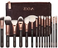 Wholesale Makeup Brush Set 15 - NEW ZO-EVA 15 PCS ROSE GOLDEN COMPLETE MAKEUP BRUSH SET Professional Luxury Set Make Up Tools Kit Powder Blending brushes