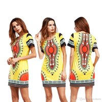 Wholesale Patterned Shift Dress - hot new fashion summer style women african dashiki pattern printed round neck short sleeve stretch knit mini shift dress
