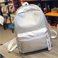 Wholesale Holographic Bags - Wholesale- Women Silver Backpack Glossy Backpacks For Teenage Girls Holographic PU Leather Bag Pink Students School Rucksack QIGER