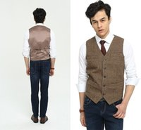 Wholesale Japan Style Plus Size Fashion - 2017 New Airtailors Brand Vests Vintage Brown Wool Tweed Vests For Wedding Formal Groom Vest Men's Suit Waistcoat Plus Size