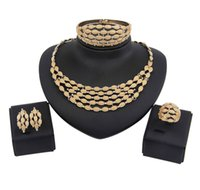 Wholesale Bridal Bib Necklaces - Fashion Women Pendant Bib chunky Collar Statement Necklace Earring Gold Plated Delicate Bridal Wedding Jewelry