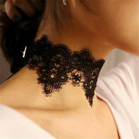 Wholesale matches necklace resale online - Wide White And Black Lace Choker Necklace Women Fashion Jewelry New All Match Gifts