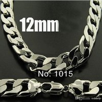 Wholesale Cuban Link Wholesale - Fashion Men'S Jewelry Silver 12mm Cuban Link Chain Men'S Necklace 20 Inches High Qulity Geometric Necklaces Gift