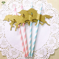 Wholesale Drinking Straws Bar Paper - Wholesale- 30 PCS Unicorn Paper Straws Pony Paper Straws Stripe Drinking Straws Wedding Birthday Party Decoration Kids Party Supplies
