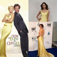 robes de soirée en or jaune achat en gros de-Kate Hudson robe de soirée en or jaune dans Comment perdre un gars en 10 jours / robes de célébrités / Robes Dans les films