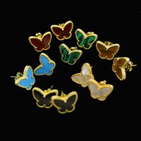 Wholesale Natural Stone Shell Jewelry - Wholesale Natural shell agate gold butterfly shell tiger stone earrings Four Leaf Clover Stud Earrings For Women Jewelry