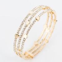 mode armbänder großhandel-Neue Mode Elegante Frauen Armreif 3 reihe Armband Armband Kristall Manschette Bling Lady Geschenk Armbänder Armreifen B020