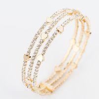 Wholesale brass bangle cuff for sale - Group buy New Fashion Elegant Women Bangle row Wristband Bracelet Crystal Cuff Bling Lady Gift Bracelets Bangles B020