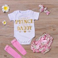 prinzessin groihandel-Baby 4pcs Kleidung Sets Infant INS Onesies Strampler + Floral Shorts + Stirnband + Leggings Set Ich fand meine Prinzessin seinen Namen ist Daddy K041