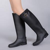женские ботинки высокого качества pvc оптовых-Оптовая продажа-мода ПВХ женщины дождь сапоги колено высокие женские сапоги обувь Женская обувь