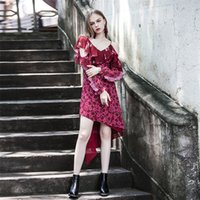 Wholesale Designer Style Long Sleeve Dresses - 2017 new fashion runway designer women dresses summer off shoulder ruffles long sleeve street style sexy dress