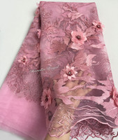 Wholesale African Fabric Lace Pink - upscale dusty Pink french lace tulle lace African mesh fabric with Super big floral 3D appliques diamonds one side edge border