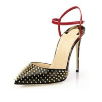 remache de aguja estilete al por mayor-Zandina para mujer moda hecha a mano de las mujeres 10 cm remaches Spikes Slingback sandalias de tacón alto del partido del vestido de noche de los zapatos del estilete KC009