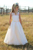 New 2017 Lace Floor Length Country Boho Flower Girls Dresses For Weddings Cheap Jewel Bow Sash Holy Communion Dresses Custom Made