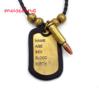 Wholesale Mens Bullet Jewelry - Copper Alloy Tags Bullet Pendants Leather Necklace Pendant Mens Necklace Jewelry High Quality Accessories Metal Hip Hop Jewelry