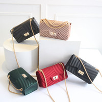 Wholesale Jelly Mini Shoulder Bags - Two Size Stylish Girl Jelly Shoulder Bag Kids Small fashion Purse Baby New brands Mini Messenger Bags kids Hot Wallets gift for Child CK146