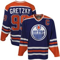 Wholesale Cheap Stitched Nhl Jerseys - Cheap Men's Edmonton Oilers Hockey jerseys #99 Wayne Gretzky Royal Home NHL Ice Premier 100% Stitched Jersey