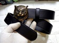 Wholesale Tiger Belt Buckles - Men black belt Genuine leather Business belts Pure color belt tiger pattern belt buckle Free shipping