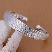 Wholesale Copper Flex - Free shipping Wholesale 925 Sterling silver plated fashion jewelry Flex bangles LKNSPCB145
