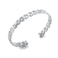 Wholesale Stacking Bangles - 3pcs Authentic 925 Sterling Silver Bangle Bracelet Cuff Bangle Stacking Lucky Four Leaf Clover For Woman Wholesale Fine Jewelry H024