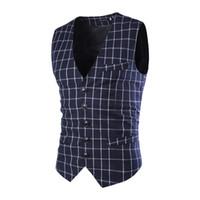 Wholesale Slim Hot Plaid Suit - Wholesale- Hot Sale Fashion Slim Fit Thin Grid Plaid Men Waistcoat Tops Spring Autumn New Man Suit Vest Hot Sale Quality Suit Vest Male
