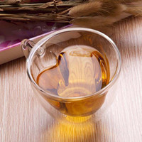Wholesale Healthy Tea Drinks - 180 240mL couple lover mugs heart shape Clear Handmade Heat Resistant Double Wall Glass flower Tea Drink Cup Healthy Drink Mug Coffee Cup