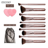 couleur nettoyeur de maquillage  achat en gros de-Docolor Pinceaux De Maquillage 10pcs + 1pcs Make Up Brush Cleaner Coffee Color Professional Make Up Brush Set Beauté Essentiel Free Ship