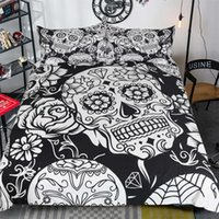 Wholesale skull bedding - Unique Design White Black Skull Reactive Printing Bedding Set Twin Full Queen King Size Bedroom Decoration Duvet Cover Pillow Shams
