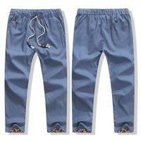 Wholesale Flax Pants M - Wholesale- New Men Linen Cotton Pants Straight Bottom Flax Fashion Breathable Casual Solid Pants Cotton Leisure Trousers M-XXXXL