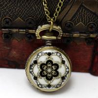 Wholesale Enamel Flower Pocket Watch - Wholesale-2016 New 1PC Necklace Chain Flower Enamel Pocket Watch W Battery Bronze Tone 82.5cm Free Shipping p569