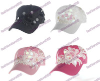 Wholesale Ladys Hats - New Style Summer Women Sun Hats Adjustable Baseball Cap Flower Embroidery Hats for Ladys  Girls Pearl Sequins baseball Caps