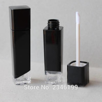Wholesale Square Cosmetic Containers - Wholesale- 5ML 40pcs lot Black Square Lipstick Packaging Bottle with Clear Bottom, Empty Plastic Cosmetic Container, Lip Gloss Cream Tube