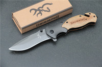 Wholesale browning knife box - Browning X50 Tactical Folding Pocket Knife Steel Blade Wood Handle Titanium Survival Knives Huntting Fishing EDC Tool With box