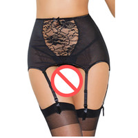 Wholesale Black Lace Garter L - Vintage High Waist Garter Belt Lace Mesh Hollow Out Stocking Suspender Belts Sexy with 6 Strap For Stocking Red Black White Plus Size 5XL