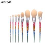 saç rengini idare etmek toptan satış-8 adet Gökkuşağı Makyaj Fırçalar Fantezi Set Seyahat Toz Göz Farı Kozmetik Makyaj Fırça Beyaz Naylon Saç Sulama Rengi Kolu