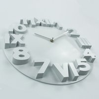Wholesale- Fashion Home Decor Wall Clock Numéros romains Grandes horloges murales en plastique Art Watch Horloge