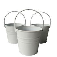 Wholesale White Wedding Pails - D10.5*H9.5CM Mini Small Rustic Metal garden pail bucket tin box Iron pots White wedding bucket