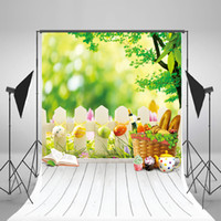 Wholesale Easter Photography Background Eggs Backdrop White Wood Floor Natural Scenery Spring Backgrounds No Wrinkles